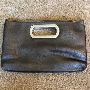 Pewter Clutch with removable Chain Strap